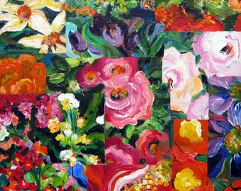 Floral Collage Original Painting 24 x 24 Art by Elaine Cory
