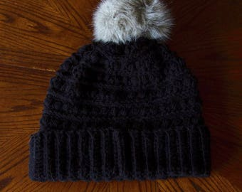 Black Addison Beanie- Women's Beanie with Fur Pom Pom- Winter Hat