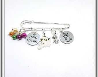 DOG THEMED Bag Pin. Kilt Pin. Cooking Charms. Handstamped. Beads. Broach. Dog Lover. Pets. Animal Broach