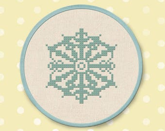 Intricate Snowflake Cross Stitch Pattern. Christmas Winter Holiday Modern Simple Cute Counted Cross Stitch PDF Pattern. Instant Download