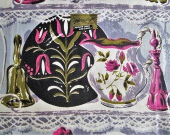 Vintage Towel Mid Century Kitchen Linens Purple Grey Gray Hardy Craft Tea Towel Dish Towel Dish Cloth Vintage Linens