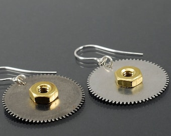 Steampunk Earrings- Upcycled Silver Clock Gear Earrings, Brass Hex Nut Earrings, Steampunk Jewelry, Hardware Jewelry, Industrial Jewelry