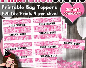 Printable Pink Army Camo Party Favor Treat Bag Toppers INSTANT DOWNLOAD PDF File