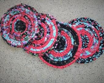 Set of 4, Fabric Coaster, Coiled Fabric, Drink Coaster, Shabby Chic, Boho, Rustic, Farmhouse