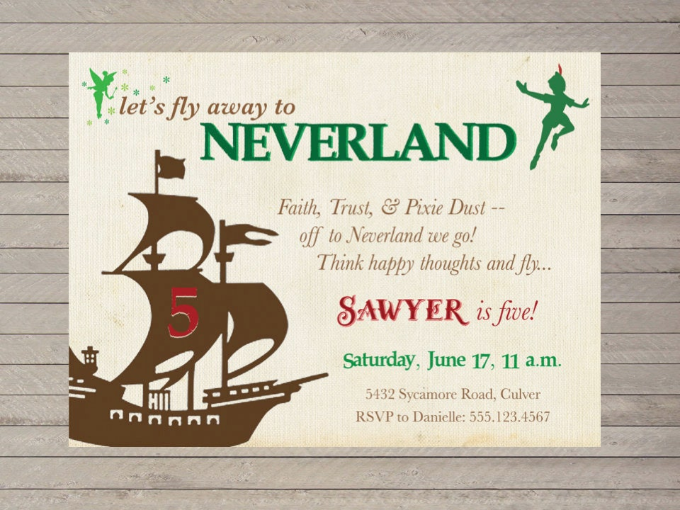 Neverland Invitation Peter Pan Inspired Party Printable