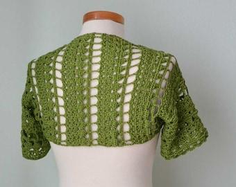 SALE, HALF PRICE,  Crochet shrug bolero, Green, lace, Size S/M,  G732