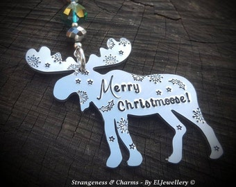 Hand Stamped 'Merry Christmoose' Moose Christmas Decoration, Moose Ornament, Moose, Christmas Ornament, Home Decor, Stamped Metal, Canada.