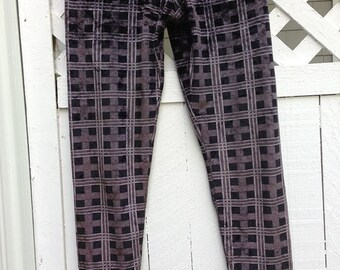 Vintage Gianni Versace Designer Black Grey Velvet Checked Pants/Leggings
