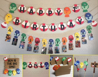 Fishing Party *THE BIG ONE* First Birthday Handmade Decorations Package! *Made to Order*