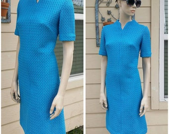 vintage Handmade 60s turquoise dress knitted fabric