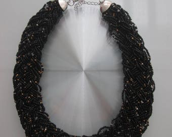 Black seed beads braided necklace