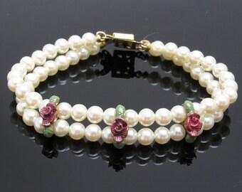 Pearl Rose Bracelet Vintage Jewelry Bridal