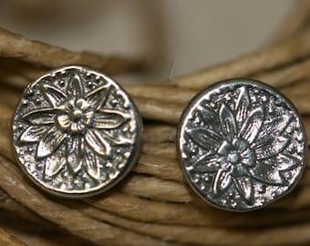 Free Shipping Stud Earrings, Silver Earrings, Flower Stud Earrings, Silver Jewelry, Handmade Silver Earrings, Silver Flower,
