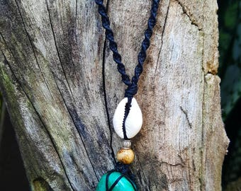 Macrame Chrysocolla Crystal pendant necklace, adjustable.
