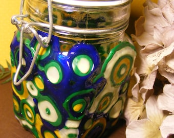 Hand painted up-cycled jar