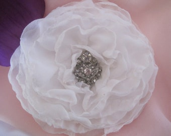 Sale.....White Chiffon Cabbage Rose Wedding Flower Hair Clip, Bride, Bridesmaid, Mother of the Bride with Gorgeous Rhinestone Accent