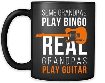 Bingo Gift Some grandpas play bingo real grandpas play guitar Gift Ideas for Grandpa Birthday Gift Coffee Mug Tea Cup 11oz Black