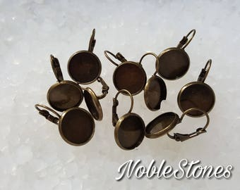 Earring, setting, earring frames wires, for 12 mm cabochons, 10 pieces (5 pairs) Bronze
