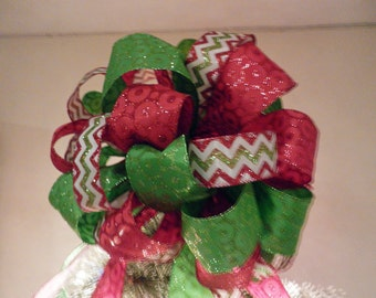 Large Lime Green and Red with glitter circles Ribbon and matching chevron stripe ribbon  Christmas Tree topper bow