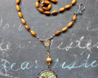 Tell the Bees Rosary Assemblage Necklace