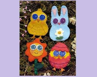 SWEET Easter Pins felt Pattern PDF - wearable wool jewelry brooch primitive embroidery bunny chick egg