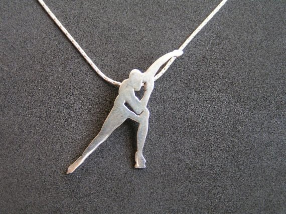 Speed skating necklace pendant ice skater silhouette pendant speed skating necklace pendant ice skater silhouette pendant ice skate jewelry sterling silver hand cut mozeypictures Gallery