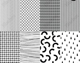 """Hand Drawn Printable Digital Paper No.2. 12X12"""" Monochrome Patterns + PNG Overlays. Personal and Commercial Use. Instant download."""