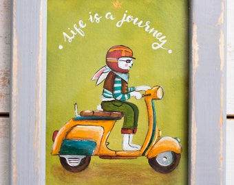Original acrylic painting on canvas in wooden frame. Rabbit on Vespa Bike painting. Travelling and journey.