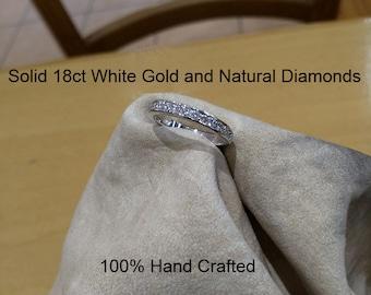 18ct 750 white gold natural round brilliant cut diamond semi eternity wedding ring