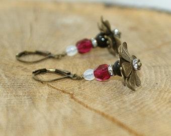 Brass and Pearl Flower Earrings