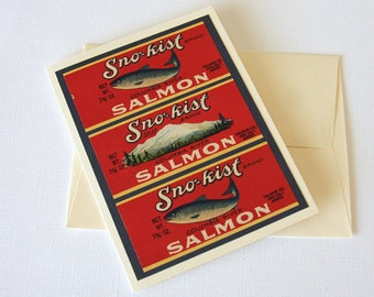 Fish Card handmade from vintage fish salmon can labels for the fisherman Father's Day Card blank inside dad husband son masculine