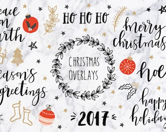 Christmas clipart / Christmas quotes / Christmas clip art / Christmas overlays / hand drawn / PNG / vectors