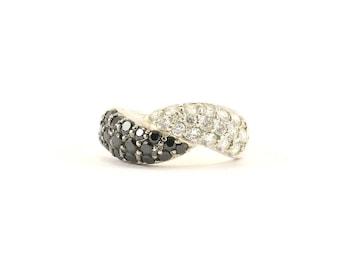 Vintage noir et blanc cristaux Twsited anneau en argent 925 RG 1460-E