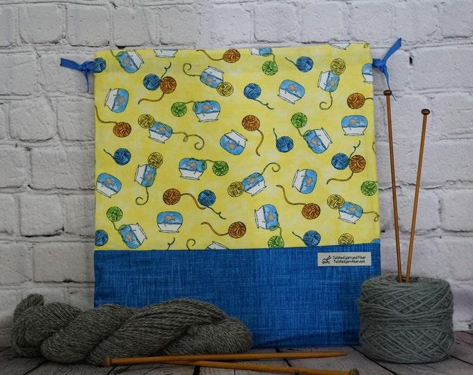 Goldfish bowl and yarn bag,  Knitting Project Bag, Crochet Project Bag, Yarn Bag,  Shawl project bag, Sock knitting bag