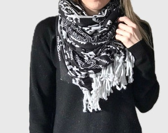 Aztec Tribal Jacquard Jersey Fabric Blanket Infinity Scarf Wrap | black/grey
