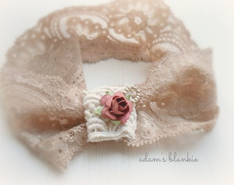 Adesyn - Cream Ivory Beige Lace Headband -  Vintage Style - Rust Flower Rosebud - Girls Newborns Baby Infant Adults