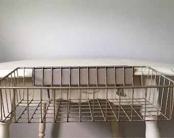 Vintage Industrial Metal Wire Office Tray / Basket Paper File Organizer / Bin with Table Clamp Attachment