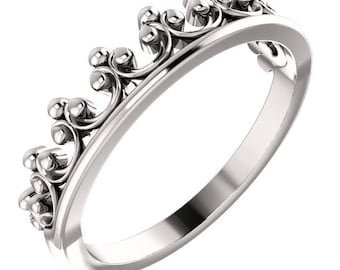 Solid Gold Crown Ring - Available in 10k, 14k, 18k Rose, Yellow & White Gold, Platinum. Fine Jewelry Gift Idea for Her