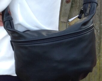 Black Leather Purse- Donna style- made in the USA- meduim size ladies purse- leather shoulderbag