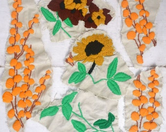 Floral Crewel Patches Vintage Appliques 70s Orange Green Yellow Cotton Swatches Set of 6