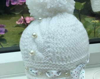 Hand Knitted White Ribbon & Pearl Pom-Pom Baby Hat 0-3m