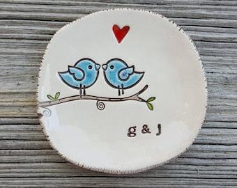 Lovebirds ring dish, engagement, wedding, anniversary, married, jewelry dish, wedding ring holder, bridal keepsake,