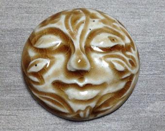 Large Leafy Face Ceramic Cabochon Stone in Peachy Tan