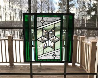 Green beveled Star Stained Glass panel, diamond bevel star, stained glass window, suncatcher, Tiffany glass, beveled glass panel, window art