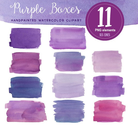 Purple Watercolor Boxes And Squares From SLSLines On Etsy Studio