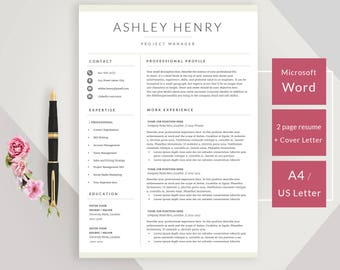 Creative resume template for Word - Instant download CV template - Design with cover letter, icons and multiple pages - easy edit