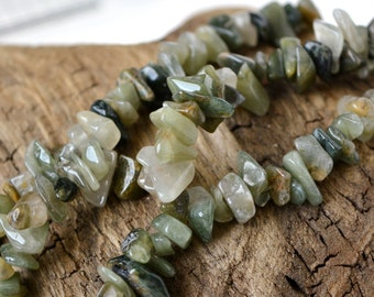 """Green Hair Quartz Chip Beads 16"""" Strand Small Gemstone Nugget Bead Lot Natural Undyed Sage Forest Transparent Light and Dark Green"""