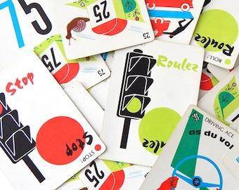 Vintage Mille Bornes Playing Cards. Vintage Games. French Ephemera. Junk Journal Paper. Journal Supply. Scrapbook Ephemera. Mixed Media.