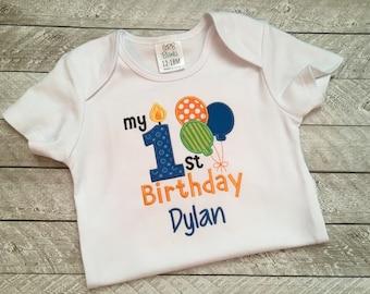 First Birthday Shirt or Bodysuit - Boys First Birthday - Birthday Balloons shirt - First Birthday Outfit - Cake Smash - 1st Birthday shirt
