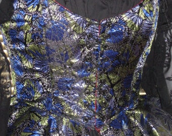 DDNJ Reversible Demi Corset w Peplum Choose Fabrics Plus Custom Made ANY Size Renaissance Pirate Anime Wedding Medieval Kawaii Wench Costume
